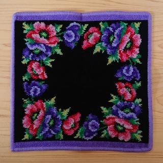 FEILER - フェイラー feiler タオルハンカチ 花柄 ジャガード ハンカチ 黒 紫
