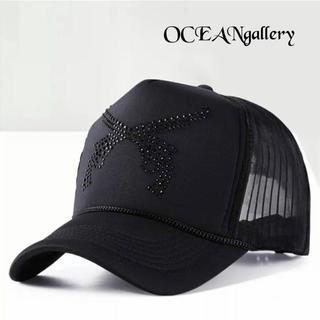 送料無料 ブラック 黒 ブラック ラインストーン 二丁拳銃 キャップ 帽子(キャップ)