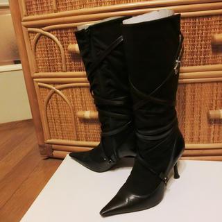 ストロベリーフィールズ(STRAWBERRY-FIELDS)のコットン異素材ビジュアル系ブーツ☆Mサイズ23cm程度(ブーツ)