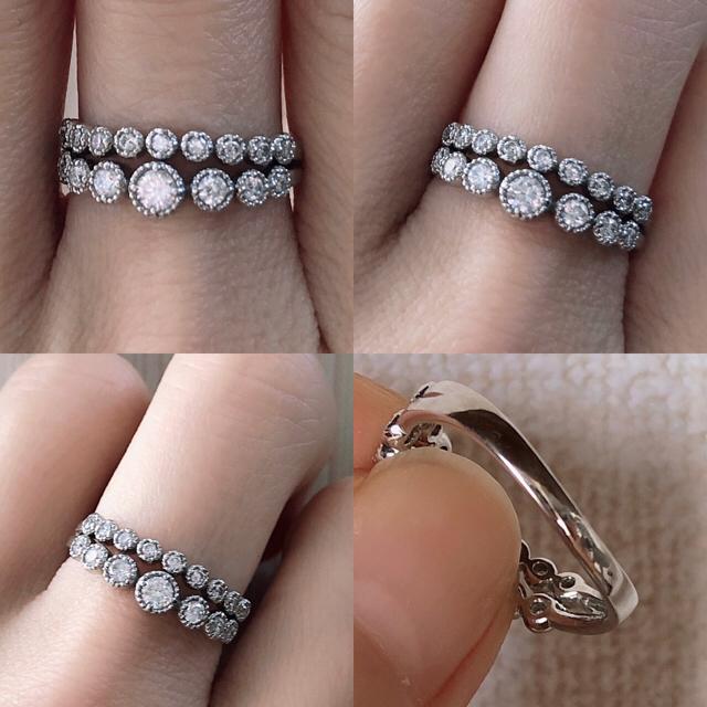 プラチナ ダイヤモンド ハーフエタニティリング レディースのアクセサリー(リング(指輪))の商品写真