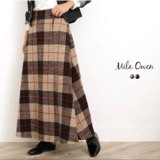 Mila Owen - mila owen 大柄チェックロングスカート