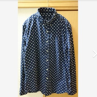 RAGEBLUE - レイジブルー RAGEBLUE  シャツ 長袖 ドット柄 紺 ネイビー メンズ