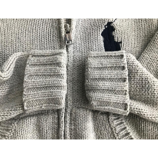 Ralph Lauren(ラルフローレン)のラルフローレン ■ フード付き ジップニットパーカー 80 キッズ/ベビー/マタニティのベビー服(~85cm)(ニット/セーター)の商品写真