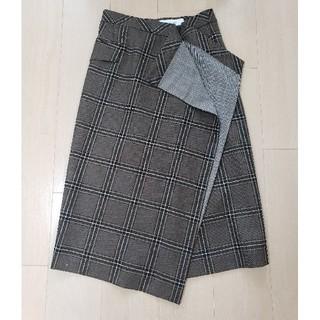 ルシェルブルー(LE CIEL BLEU)のルシェルブルー チェック スカート ブラウン(ひざ丈スカート)