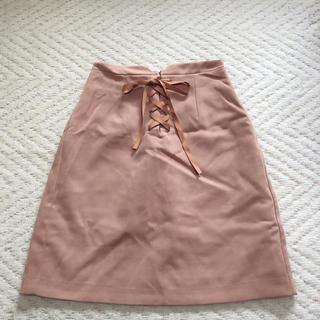 ByeBye - ByeBye リボン 編み上げ スカート ブラウン