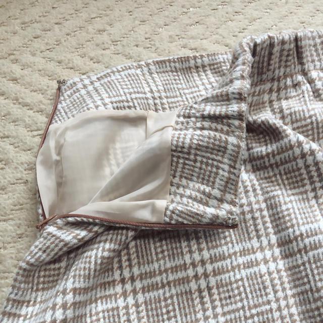 ByeBye(バイバイ)のByeBye チェックスカート ブラウン パールボタン レディースのスカート(ひざ丈スカート)の商品写真