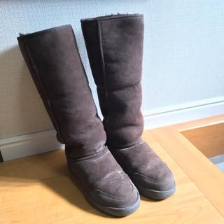 リアルムートンロングブーツ チョコブラウン(ブーツ)