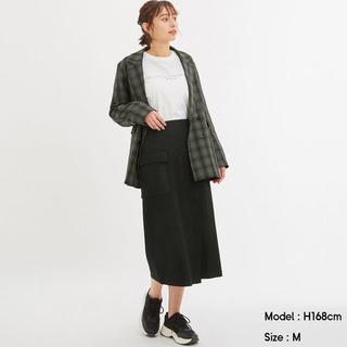 ジーユー(GU)の新品 GU ポケットナローミディスカート XL 黒(ロングスカート)
