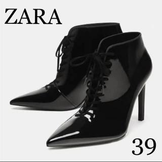 ZARA - 新品 ZARA  レースアップ  エナメル アンクルブーツ  ハイヒール