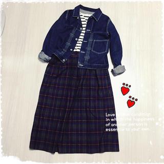 アメリカ製チェックウールスカート(ひざ丈スカート)