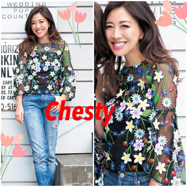Chesty(チェスティ)のChesty♡フラワーレーストップス 花柄ブラウス レディースのトップス(シャツ/ブラウス(長袖/七分))の商品写真
