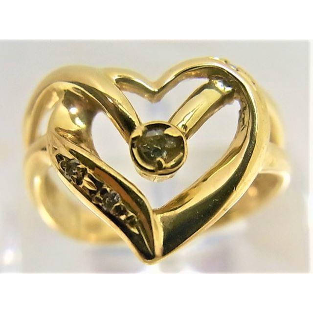 K18 18金 リング ダイヤ0.04ct ハート モチーフ レディースのアクセサリー(リング(指輪))の商品写真