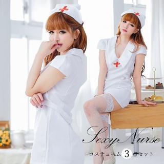 ♤【OneSize】ハロウィン コスプレ ナース 衣装 仮装 看護婦 セクシー (衣装一式)