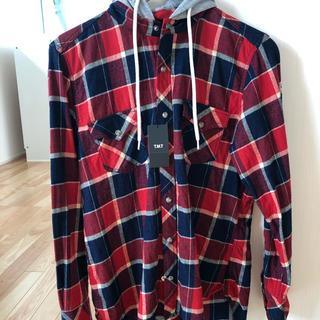 TMT - TMT フード付きチェックシャツ