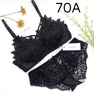 【70A】ブラ ショーツ セット レース ブラック かわいい オシャレ(ブラ&ショーツセット)