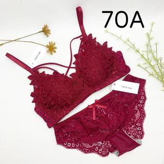【70A】ブラ ショーツ セット レース ダークレッド かわいい オシャレ(ブラ&ショーツセット)