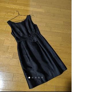 ケイトスペードニューヨーク(kate spade new york)の美品。ケイトスペード ニューヨーク リボン 黒 ワンピース。mina dress(ひざ丈ワンピース)