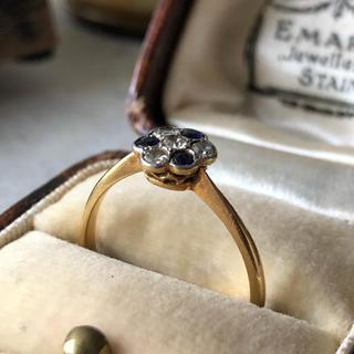 アンティーク ダイヤモンド サファイア リング 18金