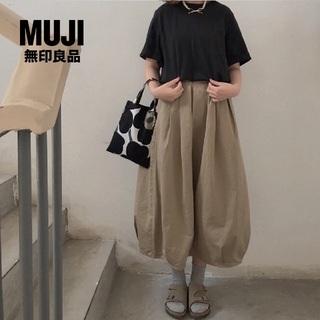 MUJI (無印良品) - 新品 無印良品✨MUJI コットン チノ タック バルーンスカート ベージュ