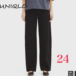 UNIQLO - 新品 UNIQLO レディース ワイドフィットカーブジーンズ ブラック 24
