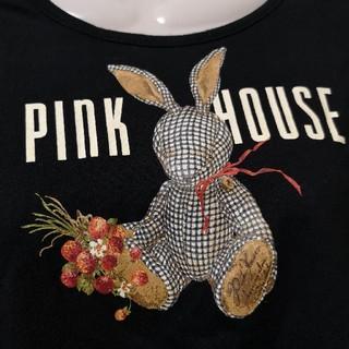 PINK HOUSE - ウサギ うさぎ ギンガム 黒 Tシャツ 長袖 秋冬 トップス
