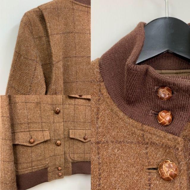 Ralph Lauren(ラルフローレン)のラルフローレン 美品 (アルパカ混)リブ袖 ジャケット 茶 7号 レディースのジャケット/アウター(ノーカラージャケット)の商品写真