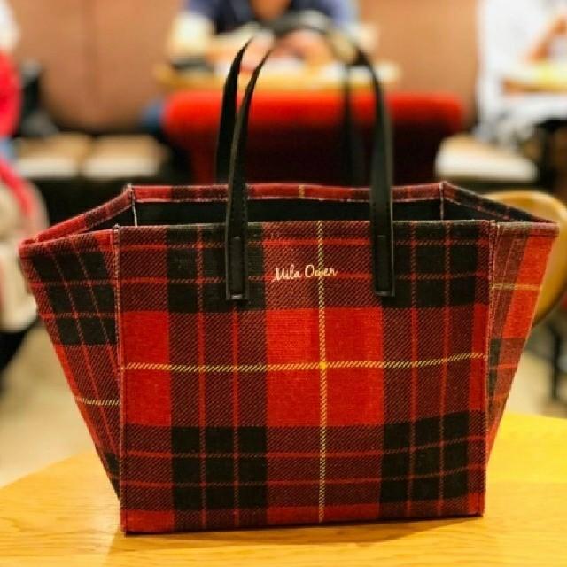Mila Owen(ミラオーウェン)のミラオーウェン オトナのチェック柄トートバッグ  レッド レディースのバッグ(トートバッグ)の商品写真