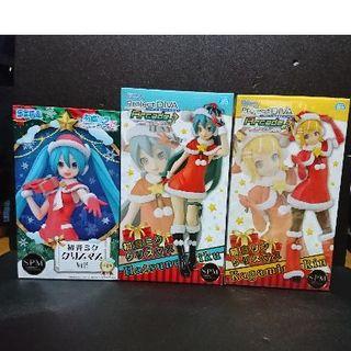 セガ(SEGA)のクリスマス 初音ミク&鏡音リン サンタコスフィギュア3点セット(アニメ/ゲーム)