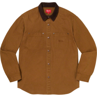 Supreme - Supreme Script Canvas Snap Shirt 茶色 M