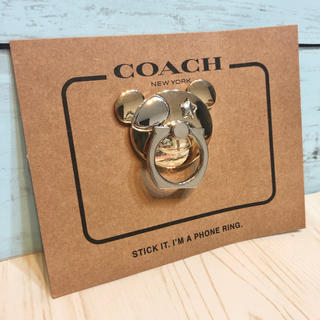 コーチ(COACH)のCOACH コーチ ベア iPhone スマホリング ゴールド スタンド ケース(iPhoneケース)
