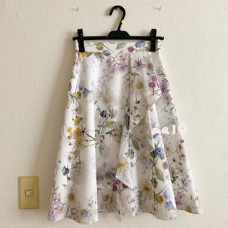 PROPORTION BODY DRESSING - 美品‼︎ 膝丈 アシメラッフルフラワープリントスカート 花柄 白