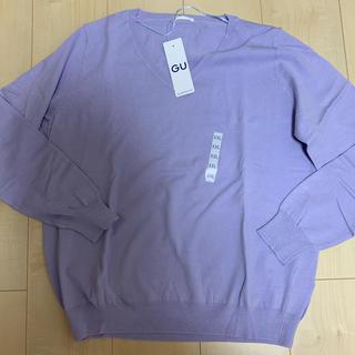 ジーユー(GU)の新品タグ付き GU 大きいサイズ Vネックセーター(ニット/セーター)