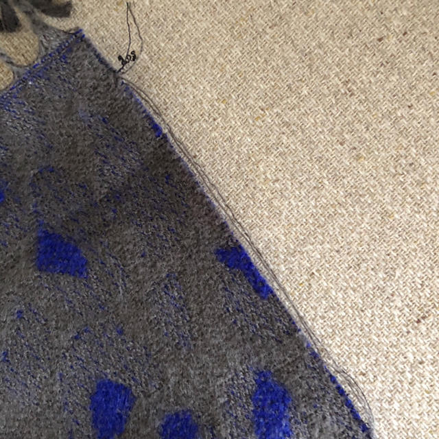 antiqua(アンティカ)のantiqua アンティカ ヒョウ柄フリンジストール ブルー×グレー系 レディースのファッション小物(ストール/パシュミナ)の商品写真