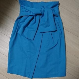 ランバンオンブルー(LANVIN en Bleu)のハイウエストスカート(ひざ丈スカート)