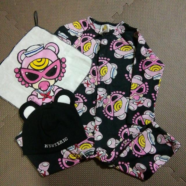 HYSTERIC MINI(ヒステリックミニ)の新品 ヒスミニロンパースセット 黒 キッズ/ベビー/マタニティのベビー服(~85cm)(ロンパース)の商品写真