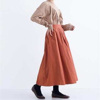 merlot - メルロー コットンフレアタックスカート ブラウン