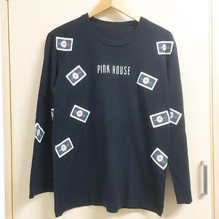 PINK HOUSE - ピンクハウス ワッペン 花柄 長袖 カットソー Tシャツ ロンT 黒