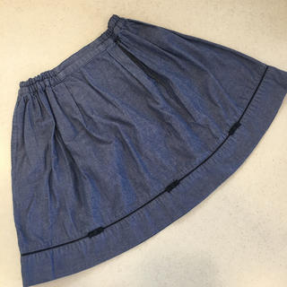 familiar - ファミリア♡ダンガリー スカート 120 ブルー リボン