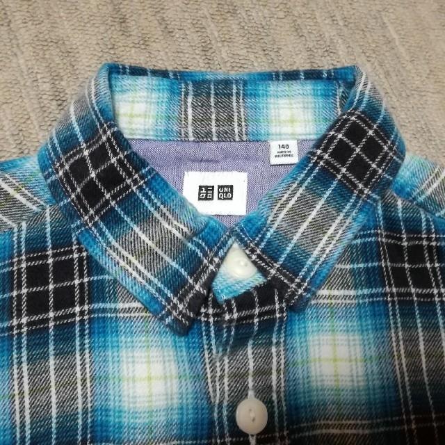 UNIQLO(ユニクロ)のユニクロ チェック柄 ネルシャツ 140㎝ キッズ/ベビー/マタニティのキッズ服男の子用(90cm~)(ブラウス)の商品写真