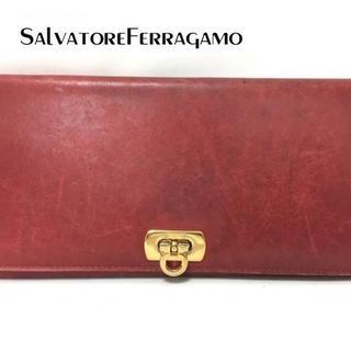 サルヴァトーレフェラガモ(Salvatore Ferragamo)のサルバトーレフェラガモ 長財布 ガンチーニ レッド レザー(財布)