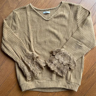 ミスティック(mystic)の袖レース編み ニットプルオーバー(ニット/セーター)
