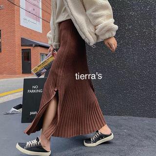 ZARA - import❁︎サイドスリット プリーツライン ニット ロングスカート