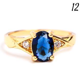 G28 リング 12号 人工石 サファイア オーバル ゴールド レディース(リング(指輪))