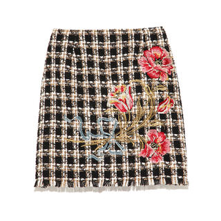 Lily Brown - Lily Brown ツイード刺繍台形スカート