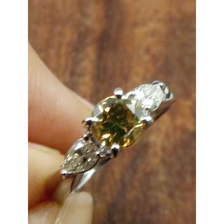 メインはブラウン!人気です!Pt900ダイヤリング 14.5号(リング(指輪))