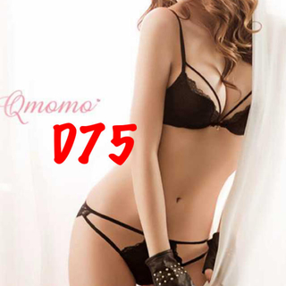 新品 キューモモ D75 ブラ ショーツ セット レース ブラック(ブラ&ショーツセット)