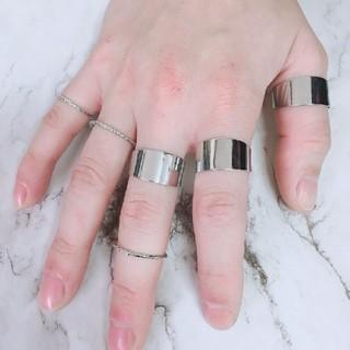 フリーサイズ 6連リング 指輪 シルバー(リング(指輪))