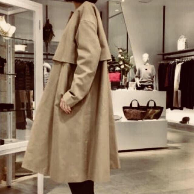 ENFOLD(エンフォルド)のENFOLD COダブルフェイスAラインコート☆ベージュ☆38 レディースのジャケット/アウター(トレンチコート)の商品写真