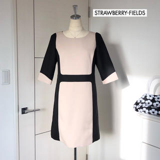 STRAWBERRY-FIELDS - ストロベリーフィールズ バイカラー ワンピース