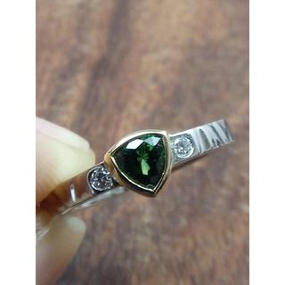 目を惹くグリーン!Pt900/K18ツァボライトリング 11号(リング(指輪))